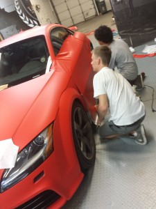 Wrap Being Applied To Driver Side Door