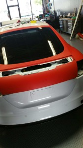 Trunk Being Wrapped in 3M Matte Red